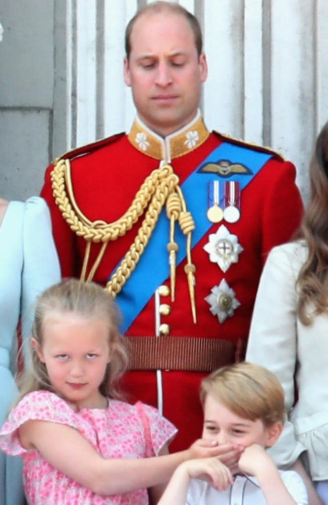 Prince William keeps a watchful eye over niece Savannah Phillips and son Prince George during the Trooping of the Colour on June 9, 2018 in London, England. Picture: Chris Jackson/Getty Images