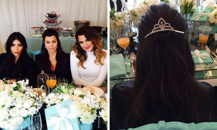 <b>KOURTNEY KARDASHIAN</b>  <p>Fellow mum-of-three Kourtney has had a few baby showers too, but the last one for son Reign was a glamorous Breakfast At Tiffany's inspired affair. The lavish bash was held at the Montage Beverly Hills hotel in 2014 and guests were pictured around white floral arrangements and gifts in Tiffany's signature blue. The place setting was a mini princess tiara, which the guests wore in their hair. Source: Instagram</p>