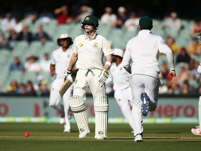 Steve Smith departs in anger after an avoidable run-out.