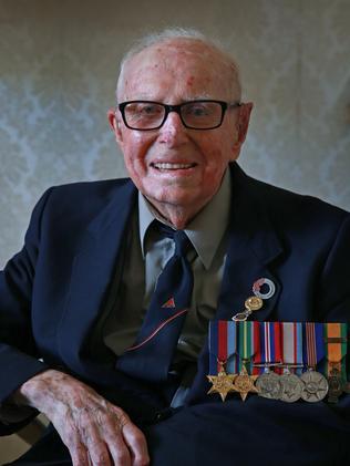 World War II veteran Bert Collins, 103, at his Bankstown home. Picture: Toby Zerna