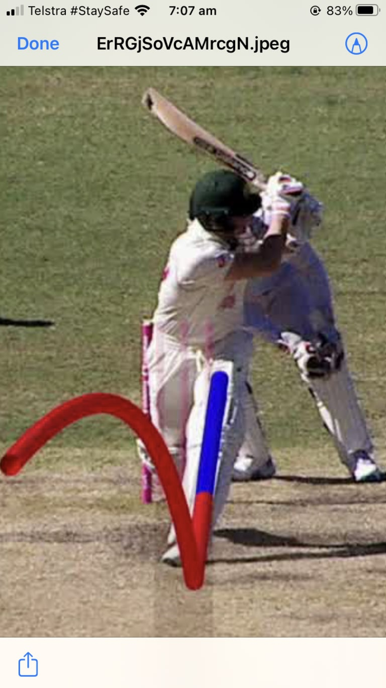 There is a clear difference between the off stumps.