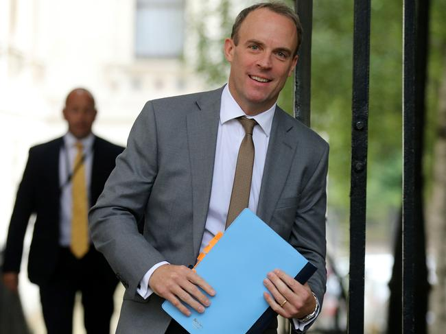 Britain's Foreign Secretary Dominic Raab walks through Downing Street in central London on September 10, 2019. Picture: AFP