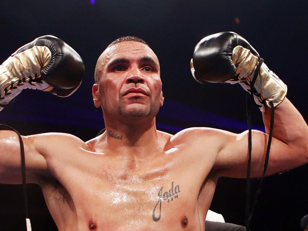 Anthony Mundine reacts after defeating Tommy Browne during their bout at The Star Event Centre in Sydney, Wednesday, January 17, 2018. (AAP Image/Daniel Munoz) NO ARCHIVING, EDITORIAL USE ONLY