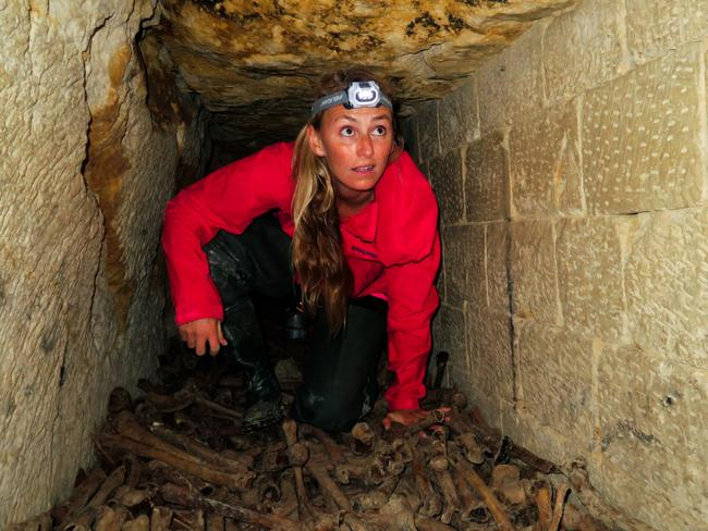 Alison climbed over piles of human remains to enter the catacombs. Picture: Caters News Agency
