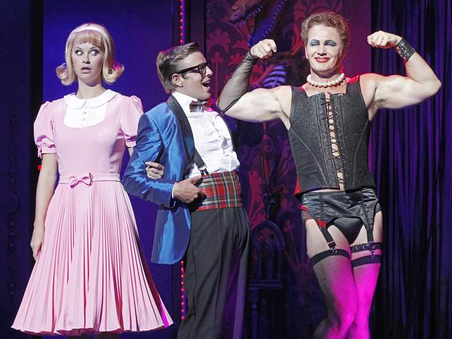 Christie Whelan Browne (Janet), Tim Maddren (Brad) and Craig McLachlan (Frank-N-Furter) during the 2014 show. Picture: Jeff Busby