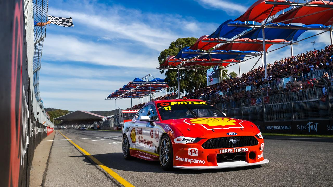 Scott McLaughlin takes the chequered flag in Race 2.