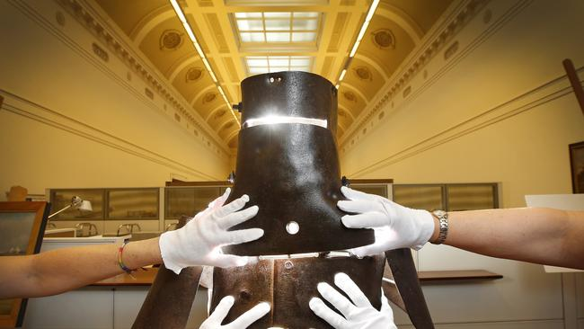 The armour worn by Ned Kelly at the siege of Glenrowan. Picture: David Caird