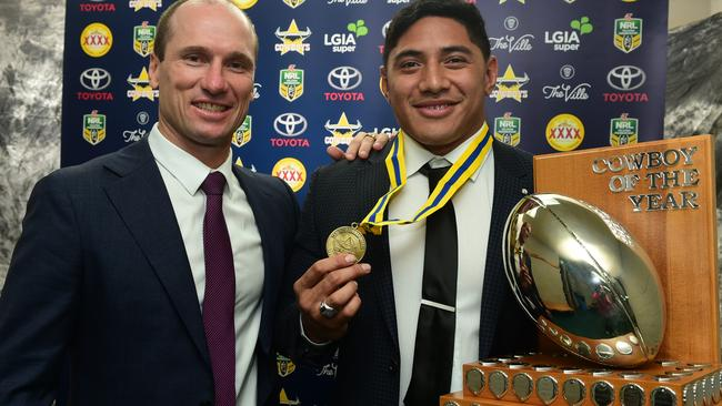 Jason Taumalolo wins 2016 Cowboys player of the year presented by Paul Bowman.