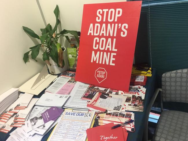 An Adani pamphlet in Mr Albanese's office. Picture: Adella Beaini