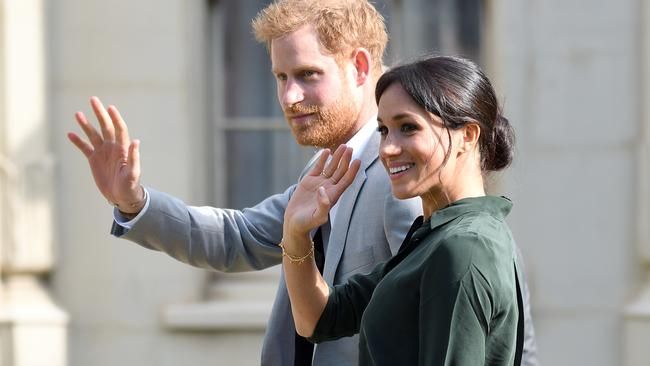 The Duke and Duchess of Sussex happily bid farewell to their royal ties. Picture: Karwai Tang/WireImage