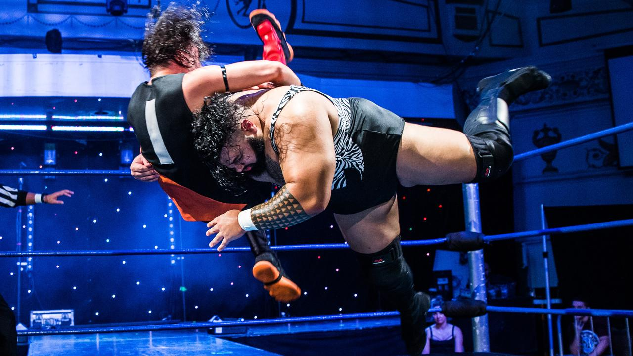 Jonah Rock spears Mitch Waterman of The Brat Pack at MCW Uprising. Rock is one of the best big men in Australian wrestling. (Photo via Digital Beard Photography)