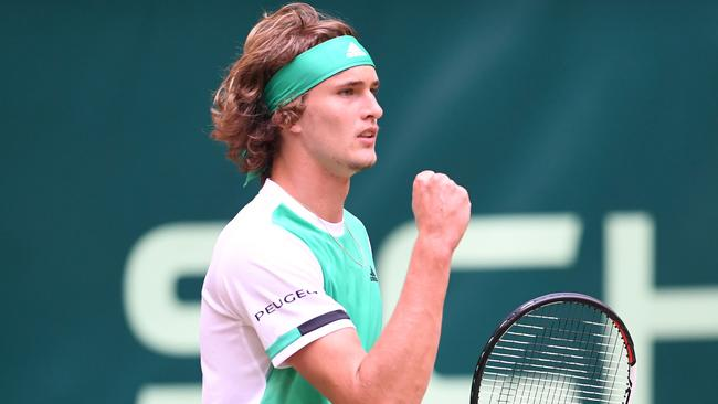 Alexander Zverev from Germany reacts during his match against Richard Gasquet.