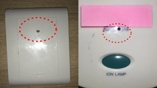 The tiny cameras were installed in various places in the rooms, including in the holder of hair dryers. Picture: South Korea National Police Agency