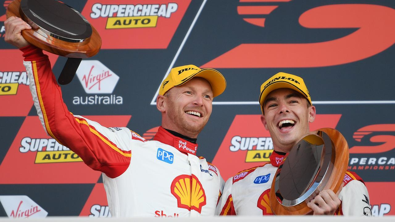 McLaughlin and co-driver Alex Premat celebrate their third place finish in the Bathurst 1000.
