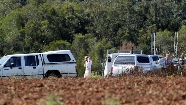 Police at the Berry Licious/Berry Obsession strawberry farm at Wamuran after sewing needles were found in their product. Pics Tara Croser.