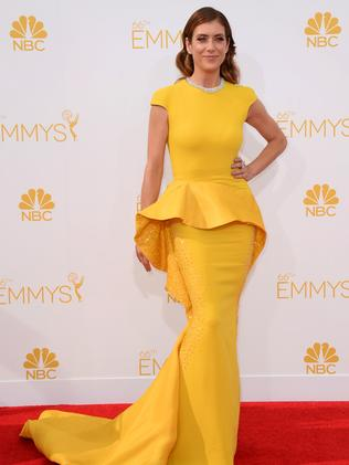 Kate Walsh arrives at the 66th Annual Primetime Emmy Awards.