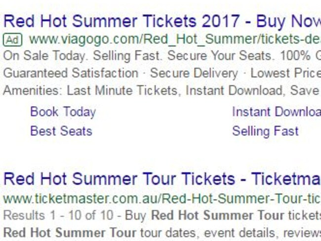 Viagogo pays to have their site ahead of official ticketing agencies on internet search engines