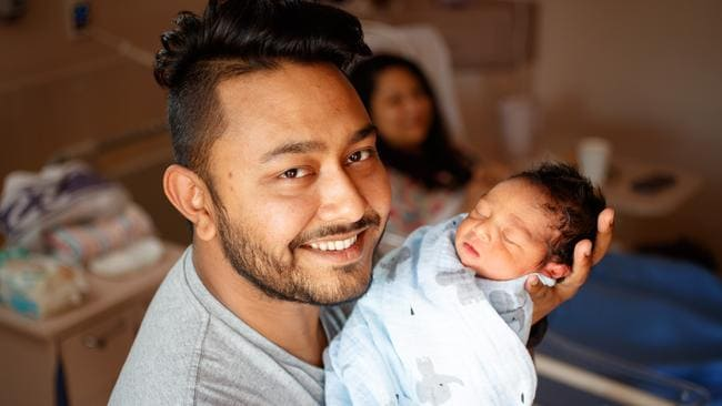 Raj Sarfarraz with his newborn son Zoraiz and wife Kashfee Ahmed at the Women's and Children's Hospital. Picture: MATT TURNER.