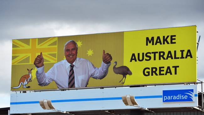 Clive Palmer is spending a fortune on billboards, TV and radio ads, and text messages sent to millions of Aussie mobile phones.