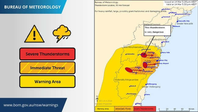 The Bureau has updated its severe weather warning for Sydney.