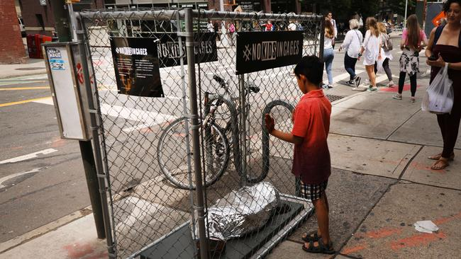 An installation in New York City representing migrant children in US Border Patrol custody. Picture: Spencer Platt/Getty Images/AFP