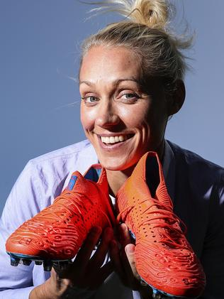 Adelaide co-captain Erin Phillips is auctioning off her AFLW Grand Final boots to raise money for the bushfire relief. Picture: Sarah Reed