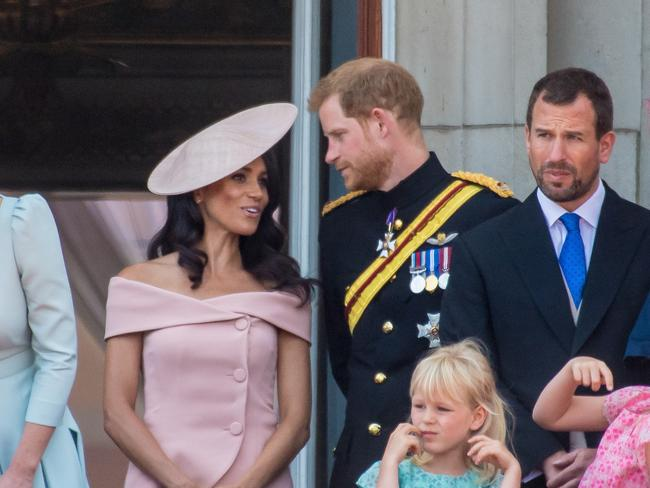 Meghan Markle with Prince Harry during their first appearance as a couple on the balcony at Buckingham Palace. Picture: MEGA