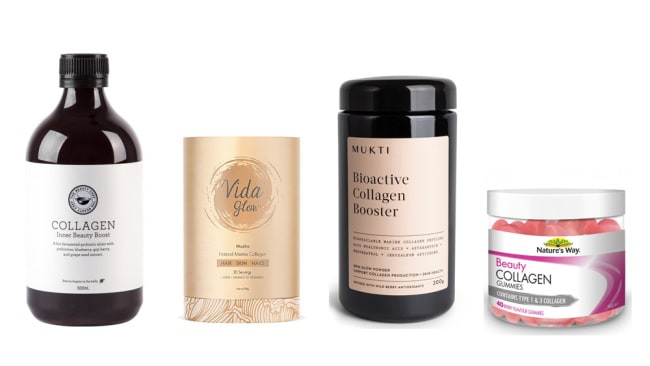 From left: The Beauty Chef Collagen Inner Beauty Boost ($42), Vida Glow Mocha Marine Collagen ($59.95), Nature's Way Beauty Collagen Berry Gummies ($19.99) , Mukti Organics Bioactive Collagen Booster ($124.95).
