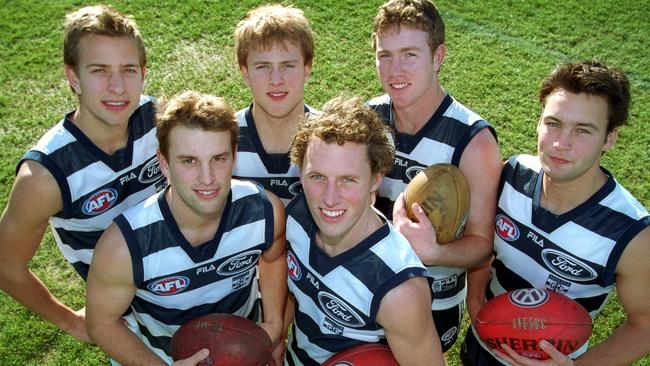 Geelong Recruits. (Clockwise from top left) Charlie Gardiner, Gary Ablett Jr, Steve Johnson, James Bartel (Jimmy Bartel), David Johnson and James Kelly.