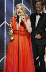 "Patricia Clarkson accepting the award for best supporting actress in a series, limited series of TV movie for her role in ""Sharp Objects"" during the 76th Annual Golden Globe Awards. Picture: AP"