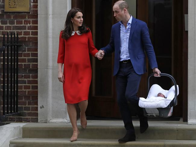 The Duchess of Cambridge gave birth to a healthy baby boy, a third child for Kate and Prince William and fifth in line to the British throne. Picture: AP