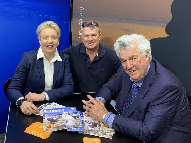 Minster for Agriculture Bridget McKenzie and long time fishing supporter Ron Boswell talk fishing with Al McGlashan at the AFTA show. Picture: Audi Croft