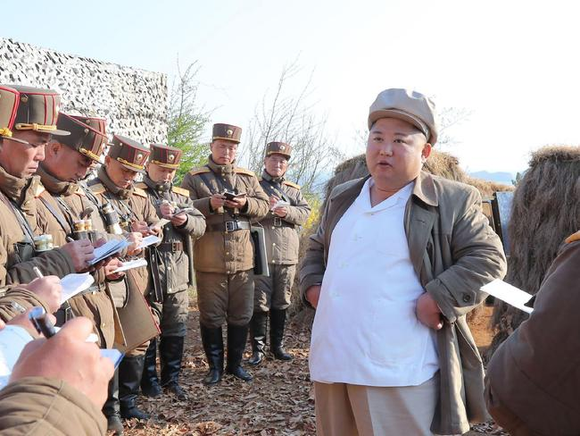 North Korean leader Kim Jong-un inspecting a drill of mortar sub-units of corps of the Korean People's Army.