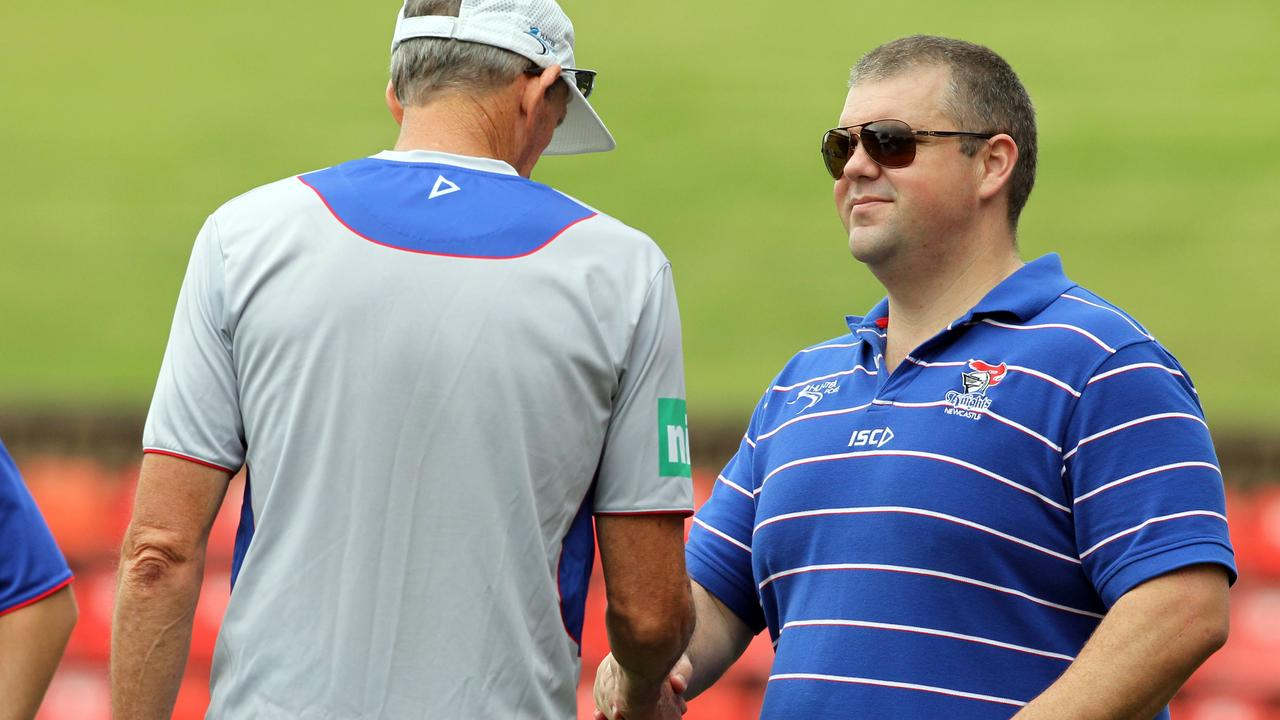 Nathan Tinkler with Wayne Bennett ahead of the Knights' 2012 season.