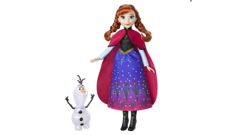 <b>13. DISNEY FROZEN NORTHERN LIGHTS ANNA, RRP $29.99, AGE 3+.</b>  <p>Anna just cannot compete with her enigmatic older sister, even in the price point stakes. Which is why this Anna doll comes with a glowing Olaf figure to sweeten the deal.</p>