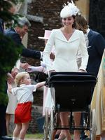 Catherine, Duchess of Cambridge, Prince William, Duke of Cambridge, Princess Charlotte of Cambridge and Prince George of Cambridge leave the Church of St Mary Magdalene on the Sandringham Estate for the Christening of Princess Charlotte of Cambridge on July 5, 2015 in King's Lynn, England. Picture: Getty