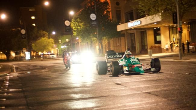 The Benetton F1 car and the Superbike in downtown Adelaide.