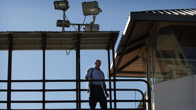 An armed guard in the watch tower at Long Bay prison where Grant Davies may spent most of the next 18 years of his jail sentence. Picture: News Corp
