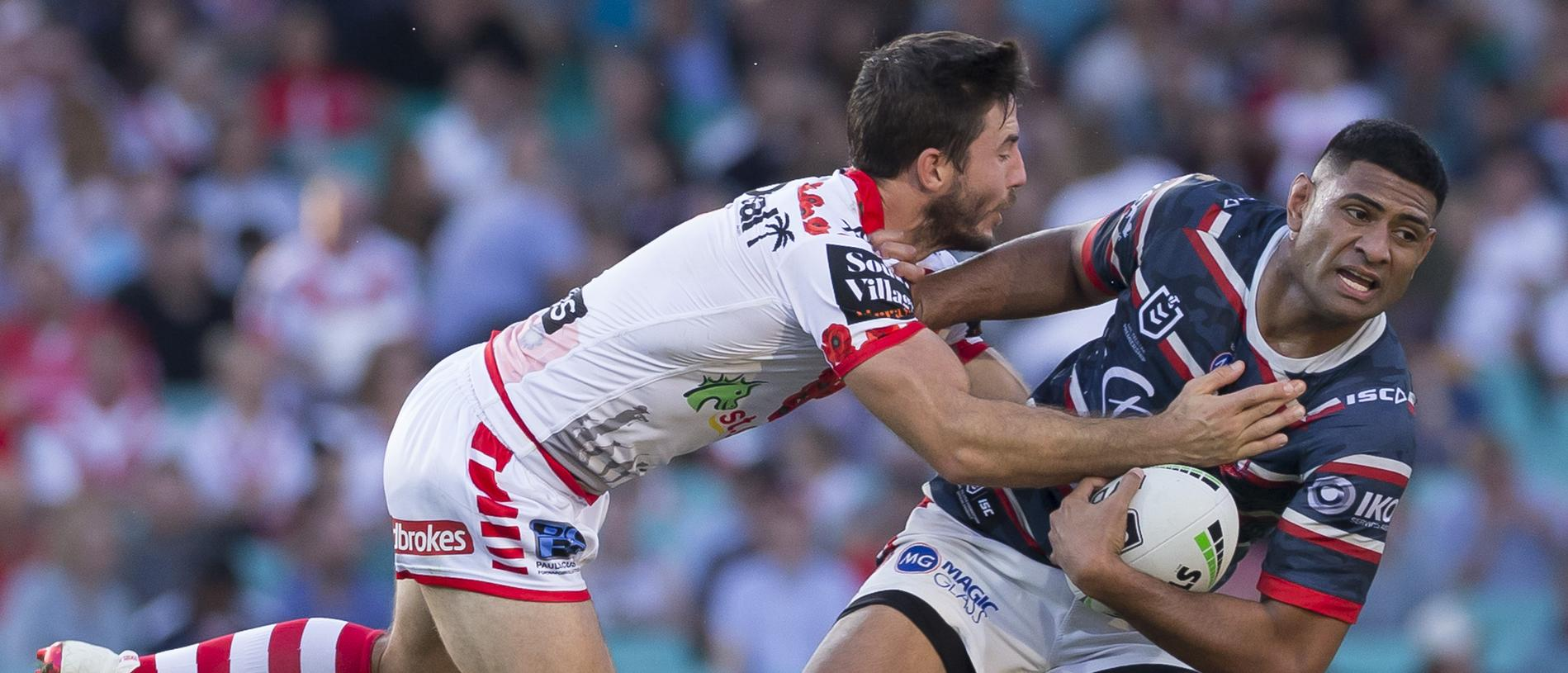 Ben Hunt of the Dragons tackles Daniel Tupou of the Roosters  during the Round 7 NRL match between the Sydney Rosters and the St George Illawarra Dragons at the SCG in Sydney, Thursday, April 25, 2019. (AAP Image/Craig Golding) NO ARCHIVING, EDITORIAL USE ONLY