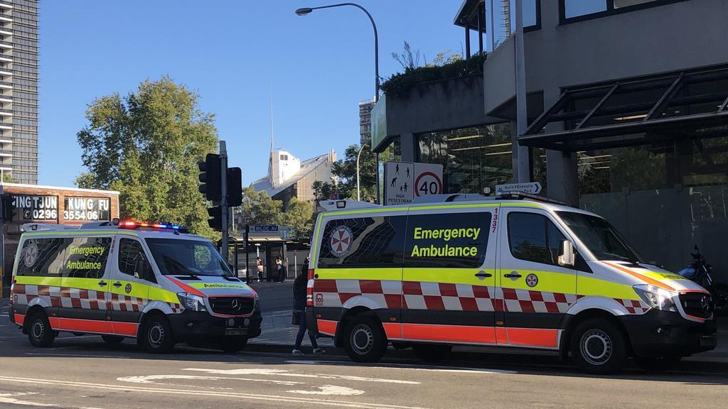 Ambulance Vans Respond To Heart Attack Victim At Parramatta