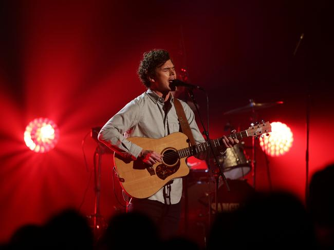 Now forever on the road ... Vance Joy performs during The X Factor live show on November 11. Picture: Jonathan Ng