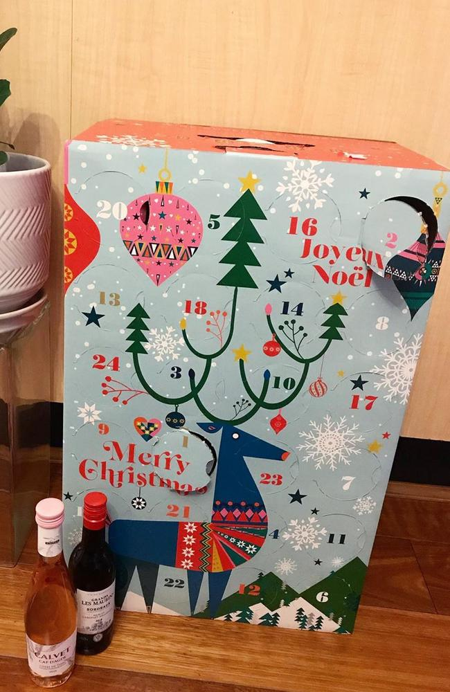 Aldi has announced the return of its popular wine advent calendar that features 24 mini bottles of French wine. Picture: Instagram / Aldi Lovers Australia