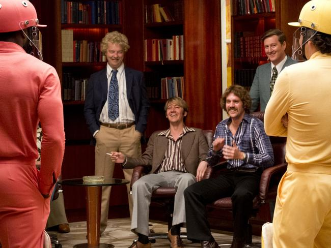 David Hill, played by Justin Smith second left in Howzat! Kerry Packer's War with Viv Richards (Roger Grant, left), Rodney Marsh (Brendan Cowell, right) Doug Walters (Hamish Michael) and Ian Chappell (Clayton Watson).