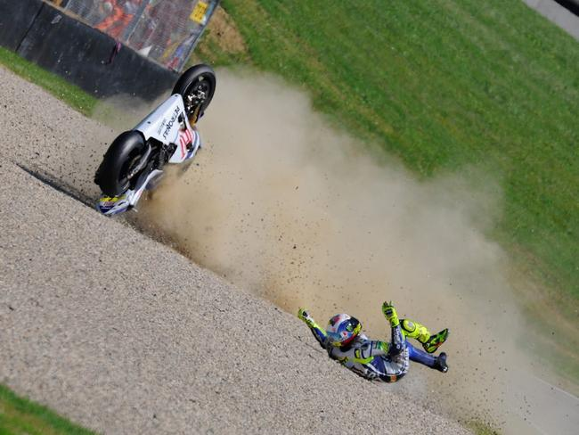 Disaster for Rossi at Mugello 2010.