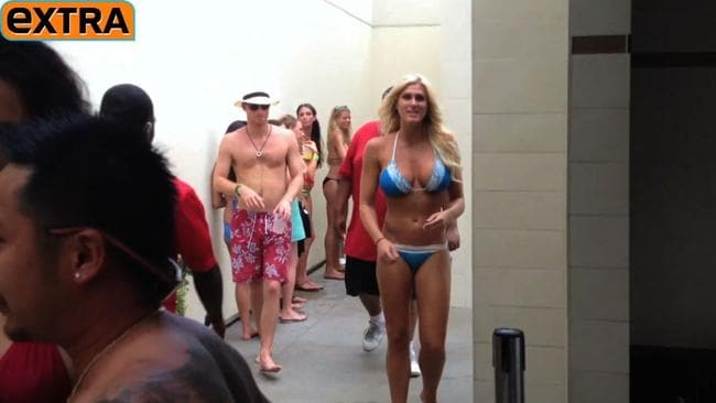 TV station  <i>Extra </i>filmed Prince Harry enjoying the poolside entertainment at the MGM Grand hotel and throwing a lingering glance towards a stunning bikini-clad women. Picture: Extra.