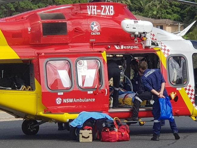 A surfer attacked by a shark at Nambucca Heads is being flown to John Hunter Hospital. The man in his 30s has severe leg injuries. Picture: 9 NEWS