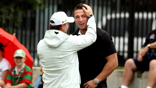 Russell Crowe with Sam Burgess in 2010.