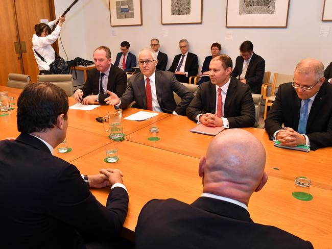 (From left to right) Deputy Prime Minister Barnaby Joyce, Prime Minister Malcolm Turnbull, Minister for the Environment and Energy Josh Frydenberg and Treasurer Scott Morrison met with electricity company bosses at Parliament House in Canberra today. Picture: Mick Tsikas/AAP