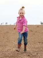 Eve Holcombe, aged 3, pictured on her father's 6900 hectare property near Walgett. Picture: Sam Ruttyn