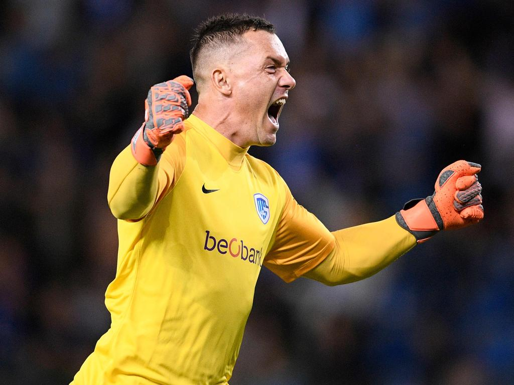 Genk's goalkeeper Danny Vukovic celebrates  during the UEFA Europa League Group I first-leg football match between KRC Genk and Malmo FF on September 20, 2018, in Genk. (Photo by YORICK JANSENS / Belga / AFP) / Belgium OUT